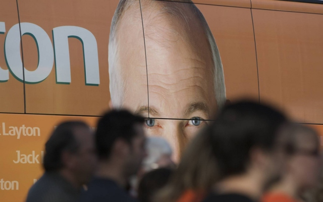 Jack Layton's face graces the side of his campaign bus.