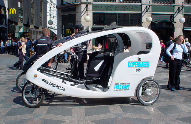 A pedicab in Copenhagen, Denmark, similar to the ones which will appear soon in Toronto.