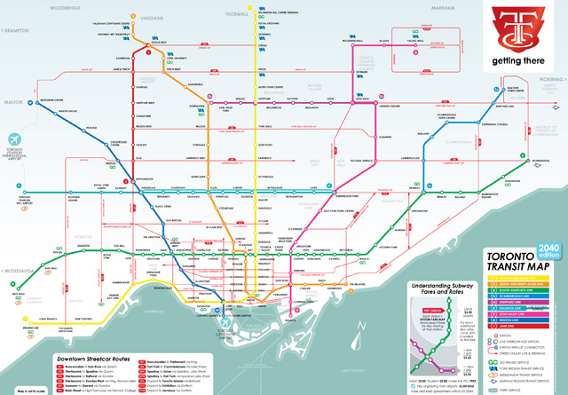 Map Of Ttc Subway System.What A Transit City Could Look Like In 2040