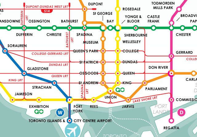 Toronto Downtown Subway Map
