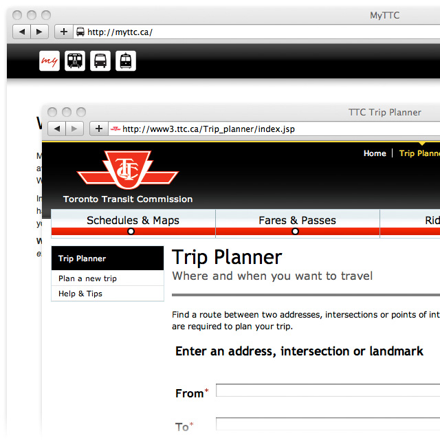 which ttc trip planner gives the better way or. Black Bedroom Furniture Sets. Home Design Ideas