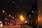 Snow falling at the exhibition place, Toronto by alfred ng
