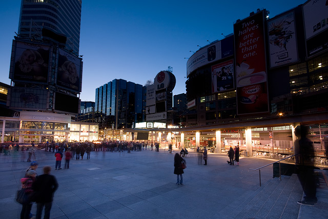 Earth Hour at Yonge and Dundas Square by Miles Storey