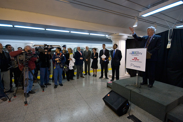 Toronto Mayor David Miller at the unveiling of Museum subway station by Miles Storey