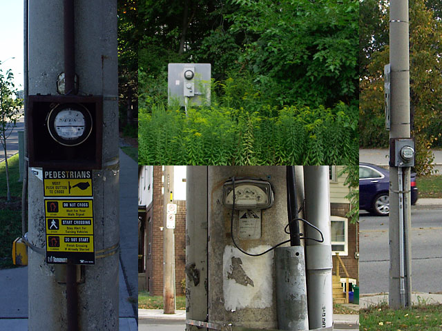 A selection of electricity meters in unexpected locations