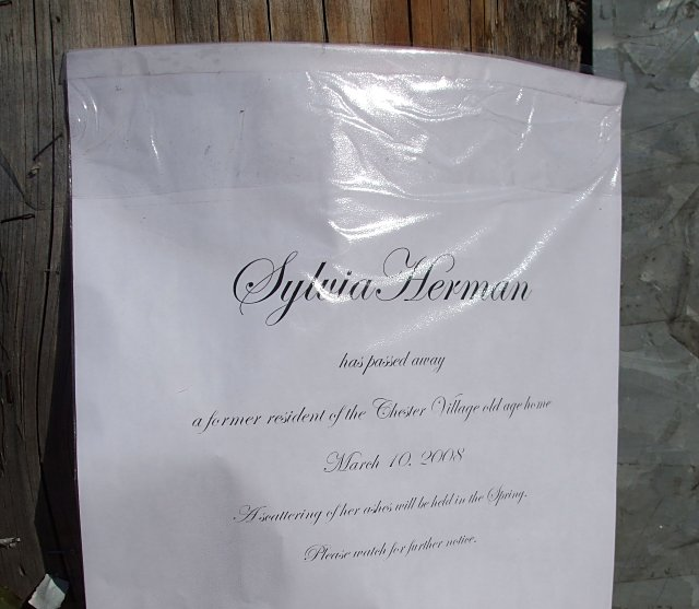 The death notice goes local