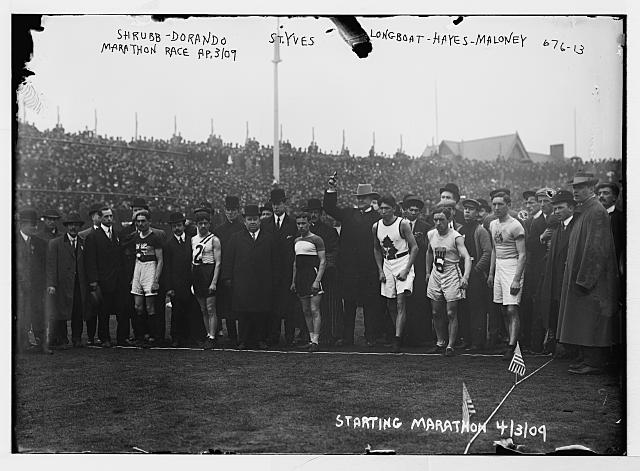 At the start line of a marathon  Longboat is the third competitor from the right, April 3, 1909  Library of Congress (LC B2  676 13 [P&P])