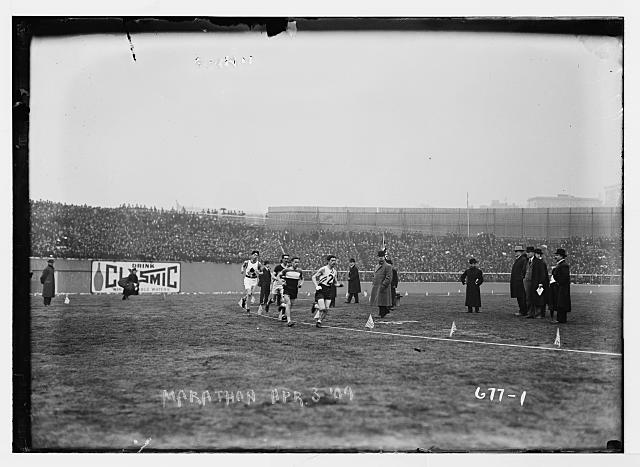 Runners (including Tom Longboat) in a marathon, April 3, 1909  Library of Congress (LC B2  677 1 [P&P])