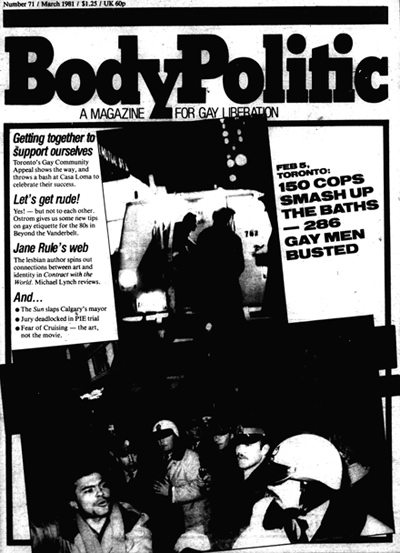 Cover of the March 1981 edition of The Body Politic