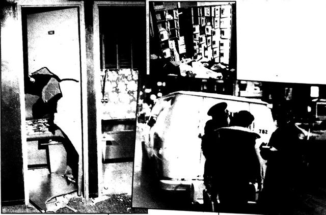 The damage inside one of the baths and other images from the night of the raids  Photos by Gerald Hannon and Norman Hatton  The Body Politic, March 1981