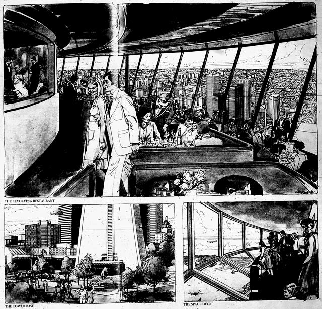 Artistic interpretations of the CN Tower's facilities by Tom McNeely, the Toronto Star, June 25, 1976.