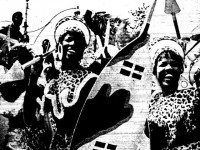 """Laughing girls in leopard skins dance along Bloor St in Saturday's Caribana '67 parade. Toronto's 8,000 West Indians are throwing a week-long centennial party on Centre Island and inviting the rest of the city to join in the fun."" (The Telegram, August 8, 1967.) Photo by Lee Harrison."