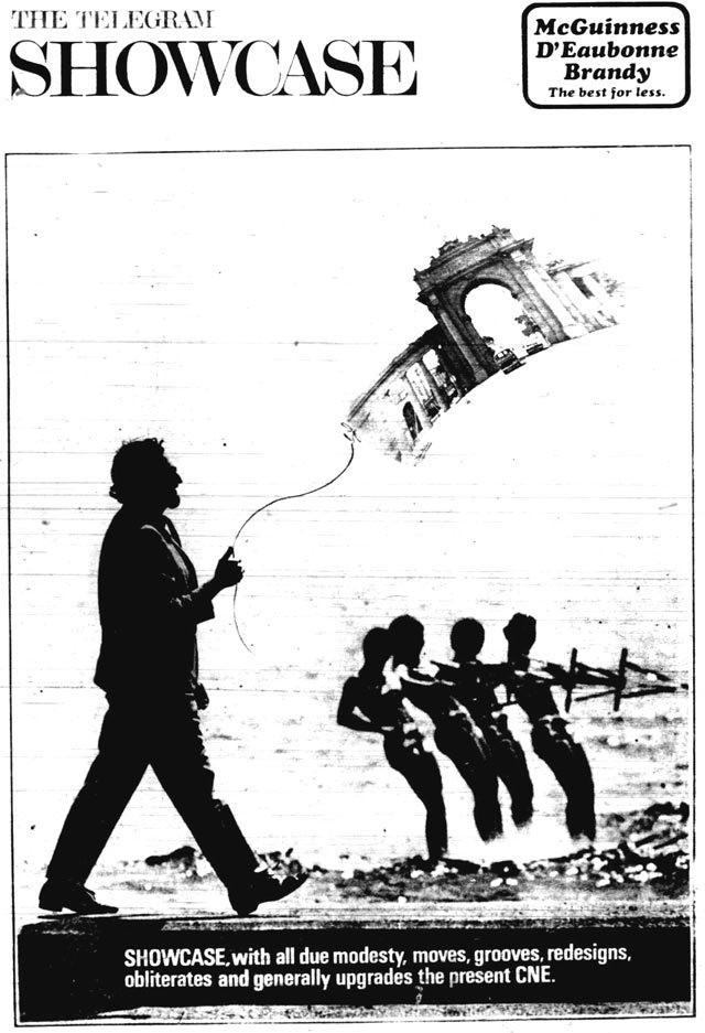 Architect Harvey Cowan takes the CNE for a stroll. The Telegram, August 5, 1967.