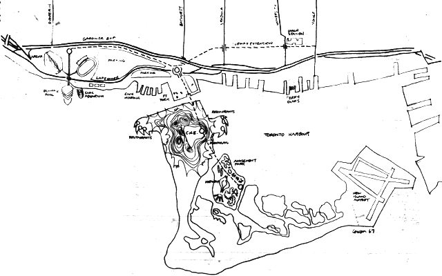 Map of architect Harvey Cowan's vision for improving the CNE. The Telegram, August 5, 1967.