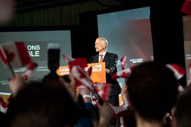 Jack Layton celebrating on the night of the most recent federal election.