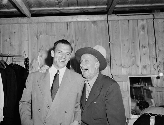 Jimmy Durante with unidentified friend on the left, 1950s. City of Toronto Archives, Fonds 1257, Series 1057, Item 9224.