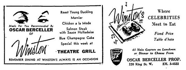 Advertisements, (left) the Globe and Mail, April 5, 1955, (right) the Globe and Mail, March 20, 1962.