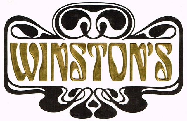 A golden version of the Winston's logo used on the cover of Winston's: The Life and Times of a Great Restaurant by Herbert Whittaker and Arnold Edinborough (Toronto: Stoddart, 1988)