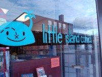 The storefront of new comics shop Little Island; the store's logo was designed by Steve Manale.