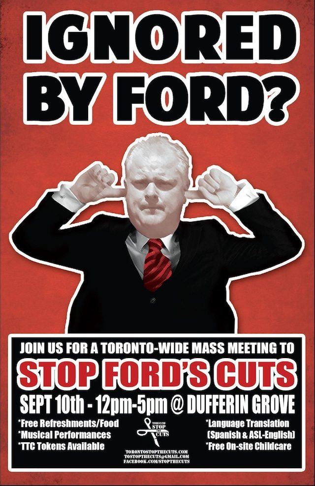 Poster for tomorrow's event from the Toronto Stop the Cuts website.