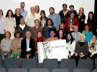 Director Mark Cousins (front row, centre), Esther (to his left), and McNally (second row, second from right) with the fans who attended all five installments of The Story of Film. Photo from The Story of Film's Facebook page.
