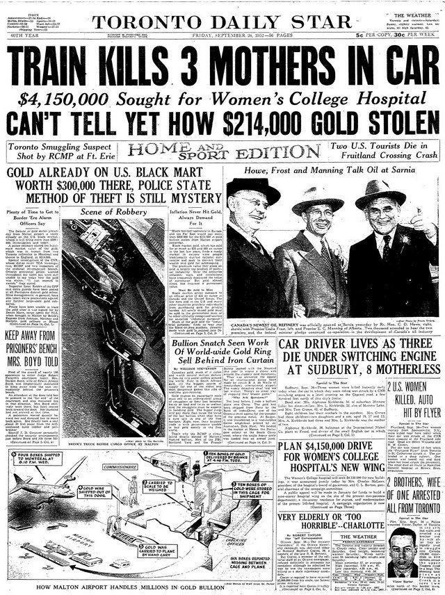 Toronto Star of September 26, 1952.