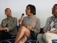 From left to right: blogger Anita Clarke, journalist Elizabeth St. Philip, buyer and stylist  Iris Simpson