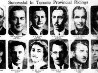 A selection of winners from Toronto-area ridings, including future mayor William Dennison, future Ontario cabinet minister Kelso Roberts, and one of the first two elected female MPPs. Rae Luckock. The Telegram, August 5, 1943.