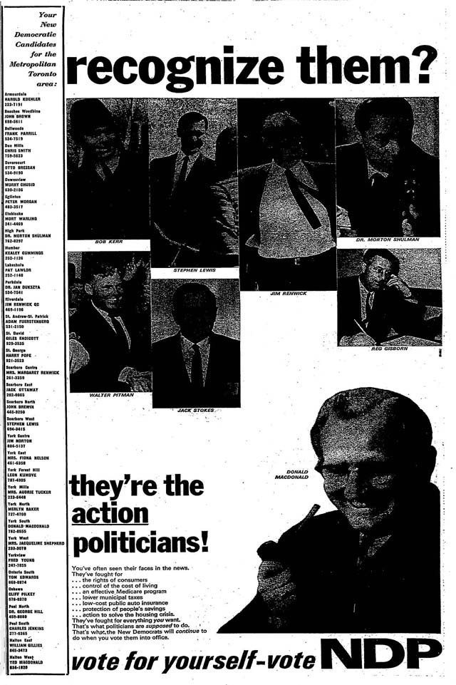 Source: the Globe and Mail, October 16, 1967.