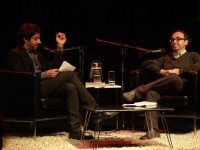 Jian Ghomeshi and Gary Shteyngart, on stage at IFOA on Saturday night.