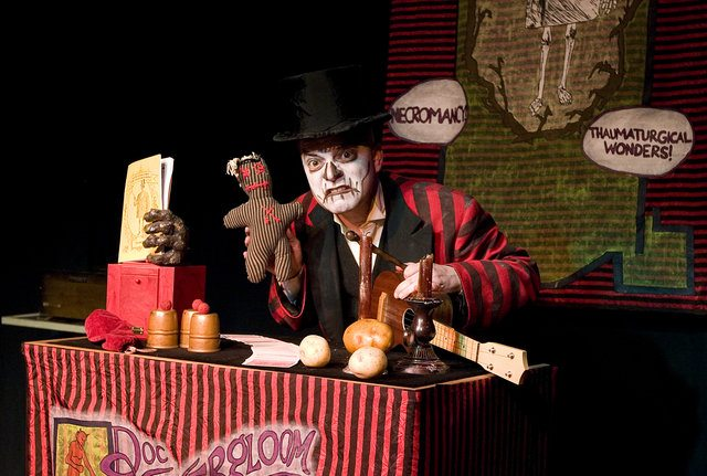 Eric Woolfe reprises the title role in Doc Wuthergloom's Haunted Medicine Show. Photo by Dawn Weaver.