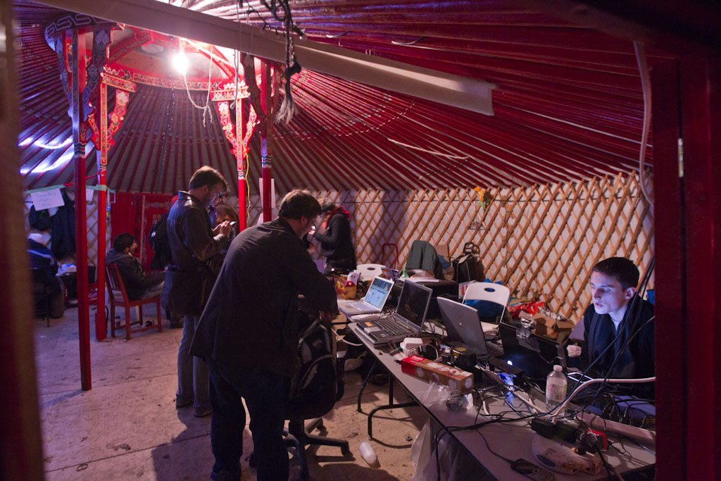 Occupy media operating out of a yurt.