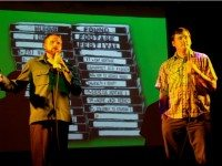 Nick Prueher and Joe Pickett introduce a found video clip at a Found Footage Festival show. Photo by Joshua Hertz.