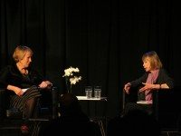 "Joan Didion (right) being interviewed by Margaret MacMillan at Harbourfront last night. Photo courtesy of {a href=""http://www.readings.org/""}readings.org{/a}."