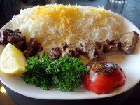 Darband Restaurant's lamb kebab with saffron rice.