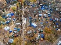 "Overhead view of the Occupy Toronto camp on Sunday. Photo by {a href=""http://www.flickr.com/photos/jentakespictures/6371823439/""}jen takes pictures{/a} from the {a href=""http://www.flickr.com/groups/torontoist""}Torontoist Flickr Pool{/a}."