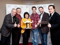 From left to right: Ron MacLean, Brian Hurley, Olivia Chow, The Jack, Craig Lynch, Mike Tolensky, and Mark Critch. Photo courtesy of This Hour Has 22 Minutes.