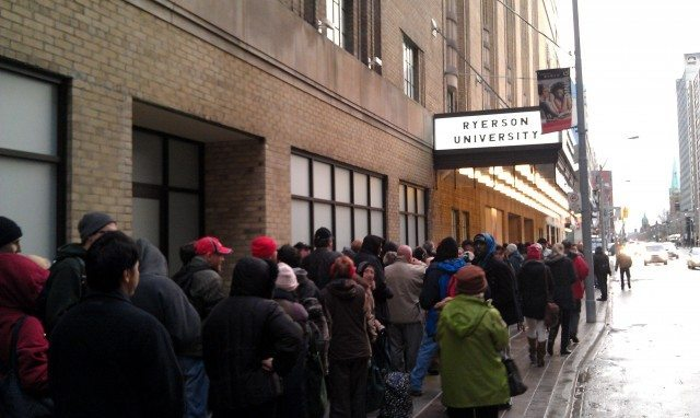 The lineup outside Maple Leaf Gardens this morning.