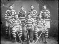Photo of a typical Ontario Hockey team, 1915, by George Irwin, from Provincial Archives of Ontario (C 119-1-0-0-42).