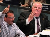 Giorgio Mammoliti and Rob Ford during a council meeting in September 2011.