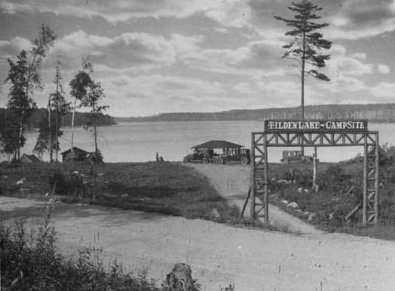 Entrance to typical camp at Temagami, 1929, from Archives of Ontario (C 7-2-0-7-17).