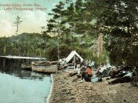 """Postcard of a camp on Lake Temagami, ca. 1910, from {a href=""""http://digitalcollections.torontopubliclibrary.ca/webDC/images.do?contentID=PCR-1548""""}Toronto Public Library{/a}."""