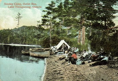 "Postcard of a camp on Lake Temagami, ca. 1910, from {a href=""http://digitalcollections.torontopubliclibrary.ca/webDC/images.do?contentID=PCR-1548""}Toronto Public Library{/a}."
