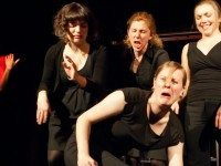"All female improv troupe WDWMKR play their last set at their ""living wake"" last week."