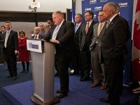 Rob Ford and some allied councillors as a press conference after the transit vote yesterday.