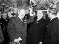Allan Lamport and Frederick Gardiner in happier times, during the official opening of the Yonge subway, March 30, 1954. City of Toronto Archives, Fonds 1257, Series 1057, Item 8963.