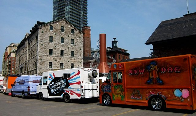 Food trucks lined up for a Food Truck Eats event, last summer  Photo by foodpr0n com, from the Torontoist Flickr Pool