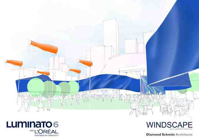 "Plans for Windscape at Pecault Square, the inaugural year for the square to be the cultural hub of the festival. It will feature daily Illuminations, nightly concerts, and a ""windsock ballet"" that will occur every half an hour. Image courtesy of Diamond Schmitt Architects."
