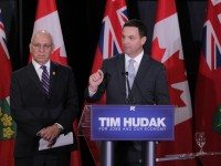 Progressive Conservative finance critic Peter Sherman and leader Tim Hudak.