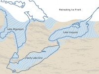 The blue border shows the outline of the lakes today. The colour shapes with the wavy lines show the glacial lakes as they were 12,000 years ago.